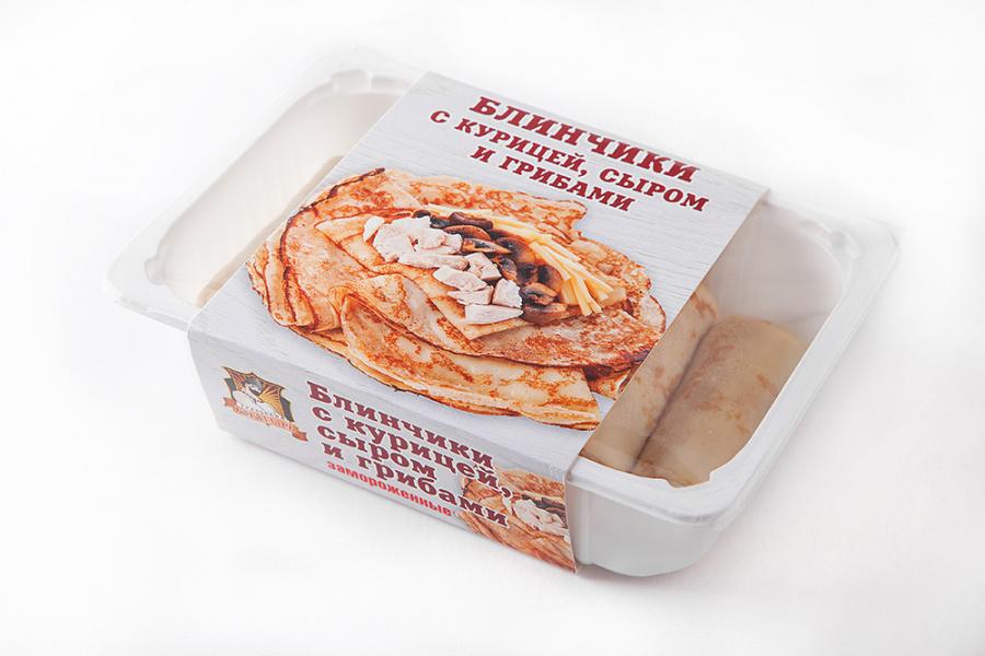 Блинчики с курицей, сыром и грибами